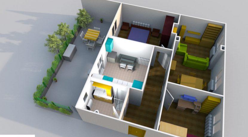 plano-3D-piso-bajo-2hab-jardin-avenida-villava-pamplona